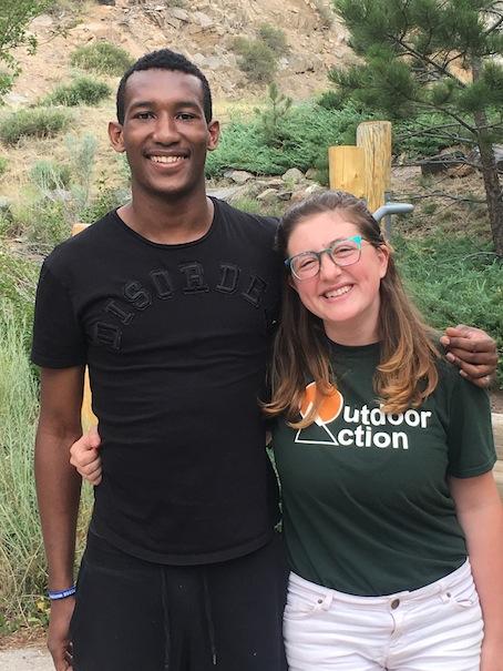 Eagle Rock School student Djibril Cayolbah with Eagle Rock Summer Intern Emma Latham.