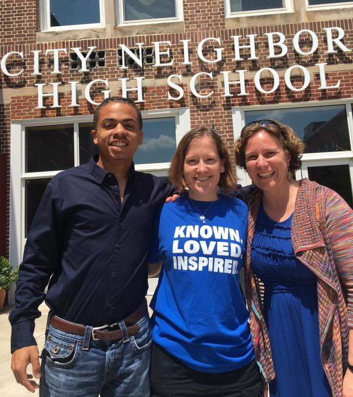 From L-R: Nigel Taylor; Cheyanne Zahrt, Principal - City Neighbors High School (Baltimore, MD); Sarah Bertucci.