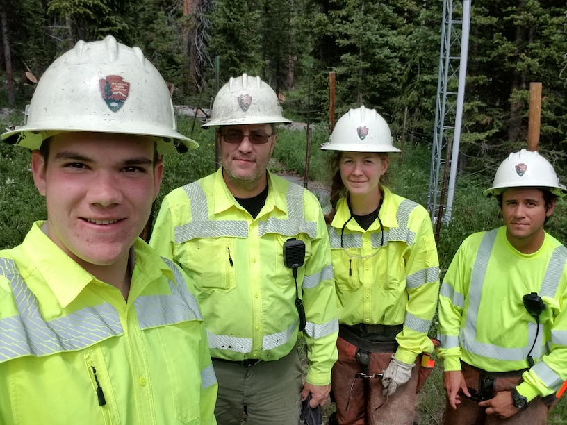Eagle Rock School student Soren Arvidson and co-workers at Rocky Mountain National Park