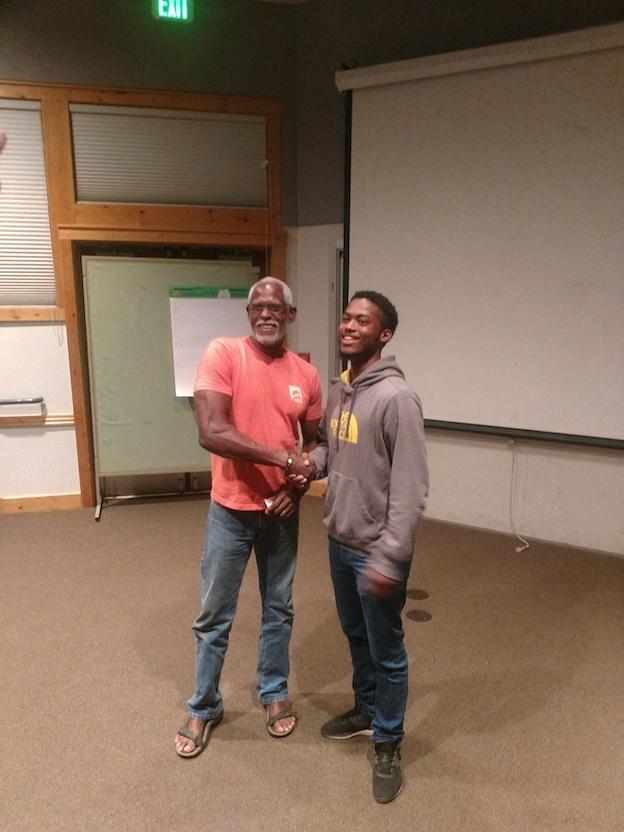 (Stephen Shobe with Eagle Rock School student Hendrick Paz.)